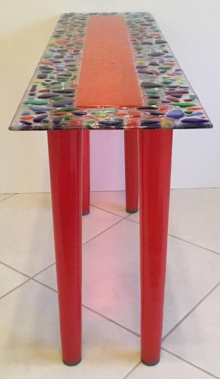 One of a Kind Murano Glass Console Table For Sale 2