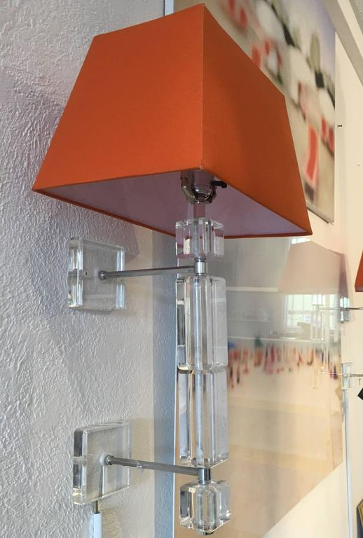 American Pair of Vintage Lucite Wall Sconces For Sale