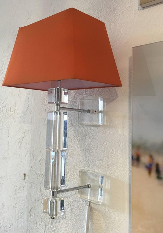 Pair of Vintage Lucite Wall Sconces For Sale 1