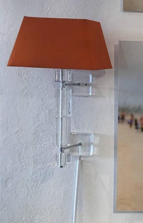 Pair of Vintage Lucite Wall Sconces For Sale 2