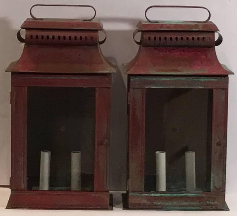 Wall Copper Lantern : Pair of Copper Wall Lantern For Sale at 1stdibs