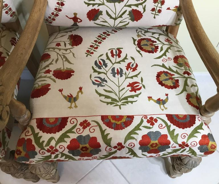 Embroidered Pair Of Antique Suzani Armchair For Sale