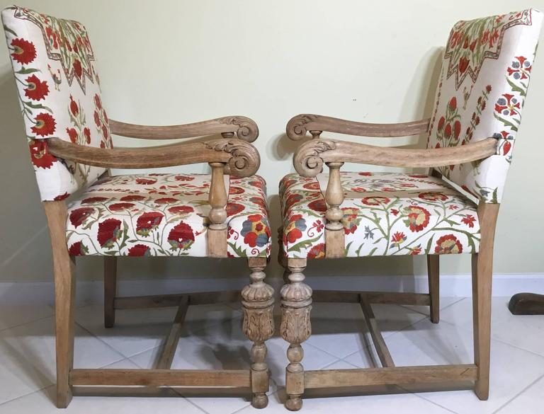 Pair Of Antique Suzani Armchair For Sale 1