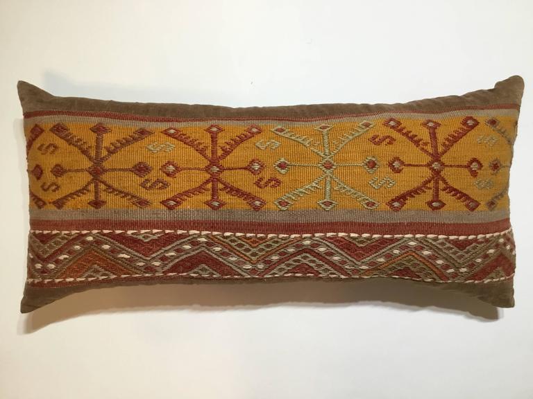 Turkestan Flat-Weave Rug Fragment Pillow For Sale