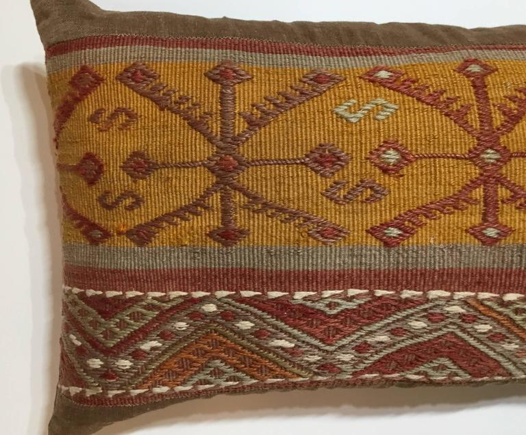 20th Century Flat-Weave Rug Fragment Pillow For Sale