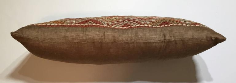Wool Flat-Weave Rug Fragment Pillow For Sale