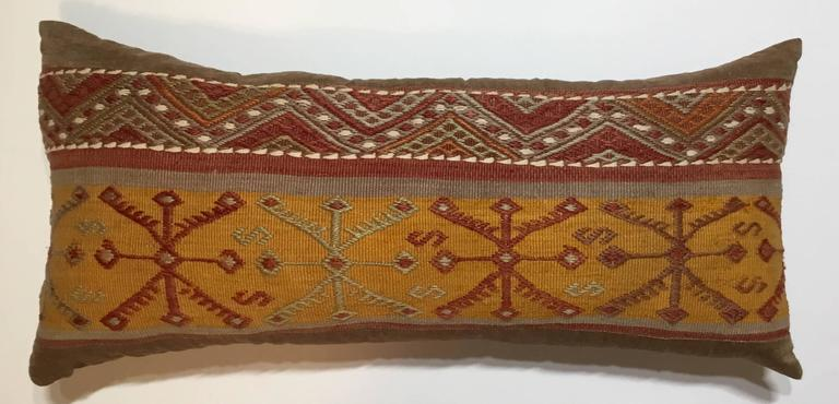 Flat-Weave Rug Fragment Pillow For Sale 2