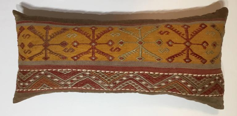 Flat-Weave Rug Fragment Pillow For Sale 3