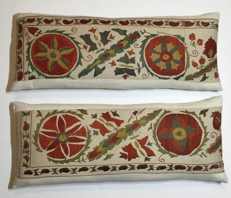 Uzbek Pair of Hand Embroidery Suzani Pillows For Sale