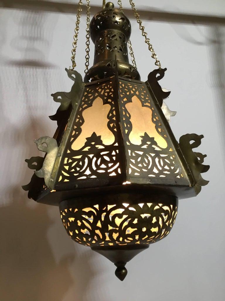 Mid-Century Petite Brass Moroccan Lantern In Good Condition For Sale In Delray Beach, FL