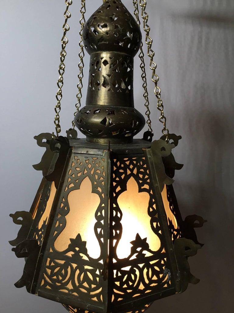 20th Century Mid-Century Petite Brass Moroccan Lantern For Sale