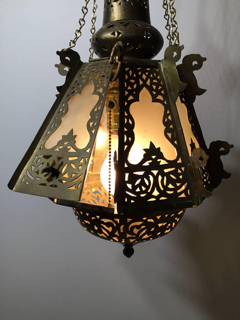 Mid-Century Petite Brass Moroccan Lantern For Sale 1
