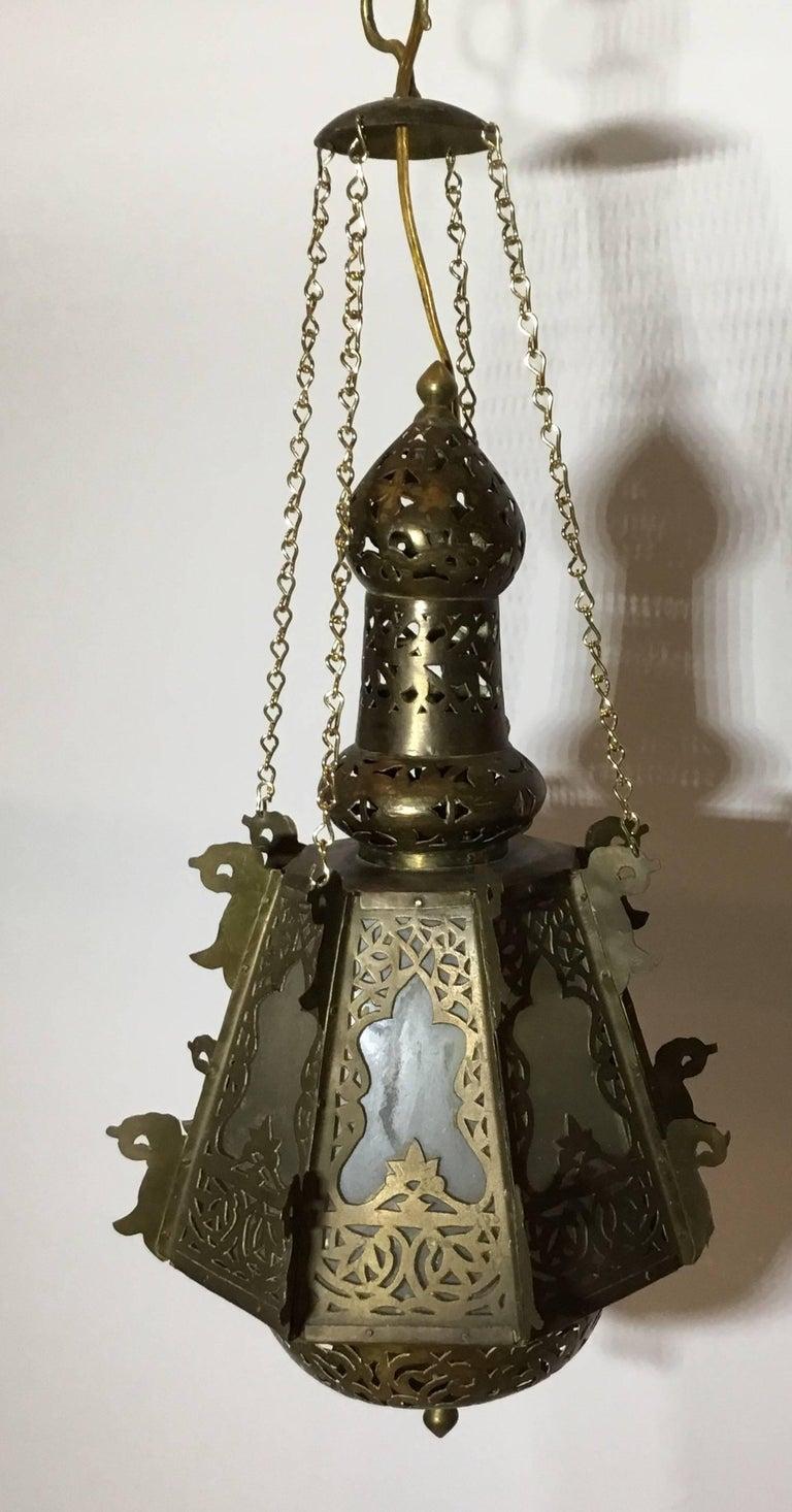 Mid-Century Petite Brass Moroccan Lantern For Sale 3