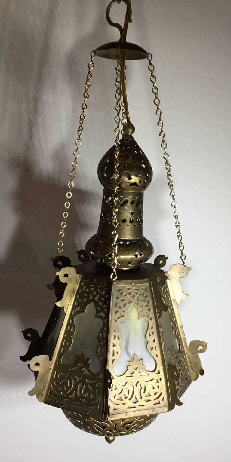 Mid-Century Petite Brass Moroccan Lantern For Sale 6