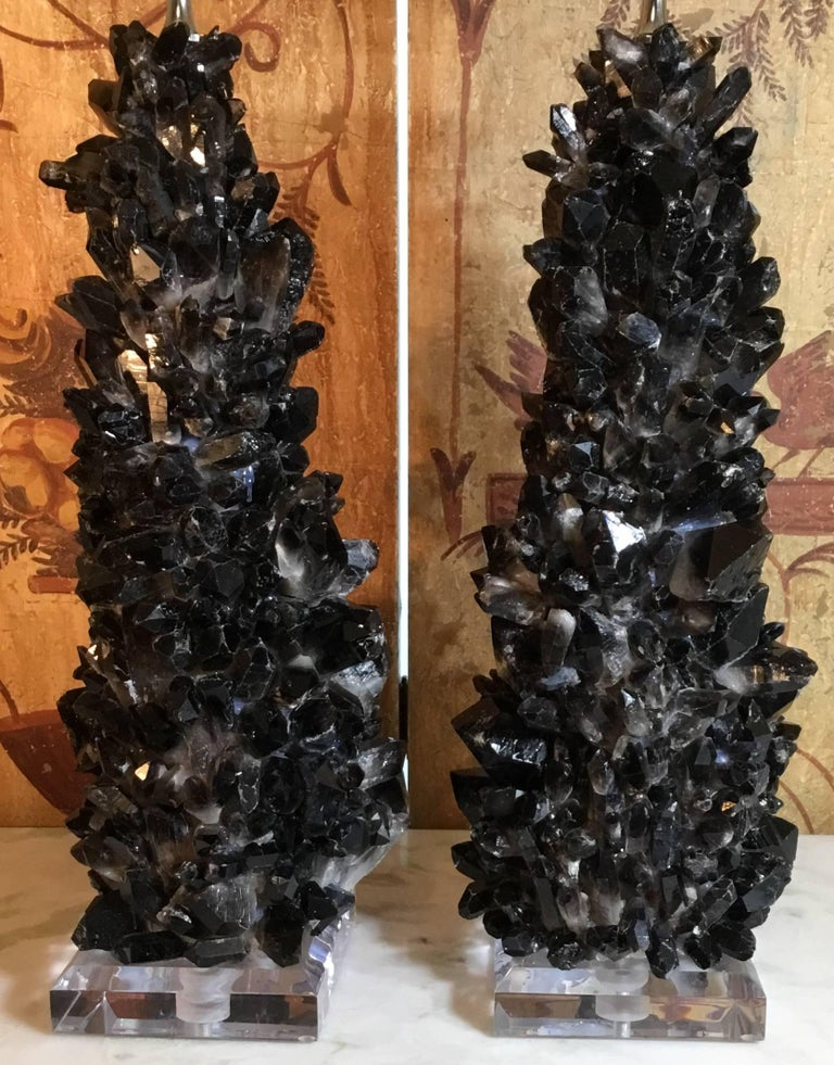 Pair of Spectacular Large Black Quartz Crystal Table Lamps For Sale 2