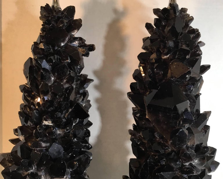 Pair of Spectacular Large Black Quartz Crystal Table Lamps For Sale 4