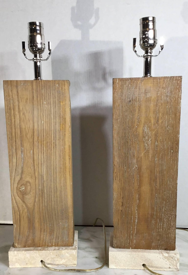 Pair of Midcentury Carved Wood Table Lamps For Sale 2
