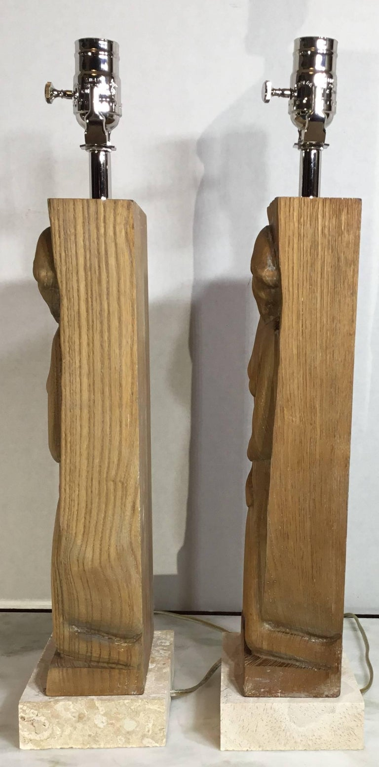 Pair of Midcentury Carved Wood Table Lamps For Sale 1