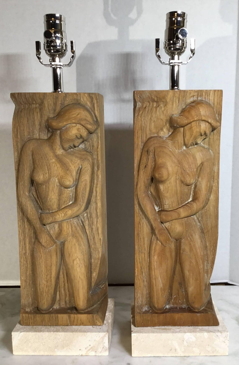 Pair of Midcentury Carved Wood Table Lamps For Sale 3