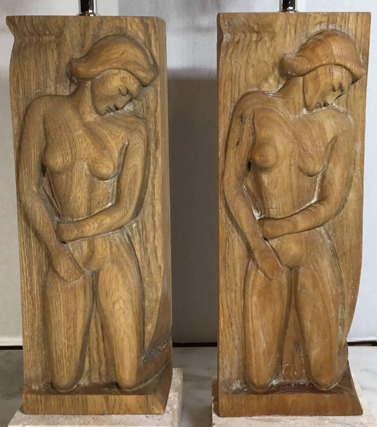 Pair of Midcentury Carved Wood Table Lamps For Sale 4