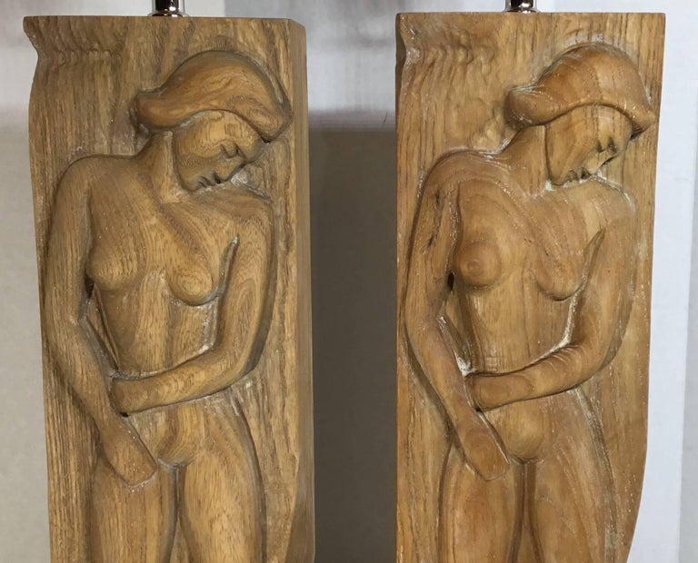Pair of Midcentury Carved Wood Table Lamps For Sale 5
