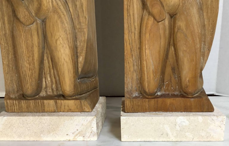Pair of Midcentury Carved Wood Table Lamps For Sale 6