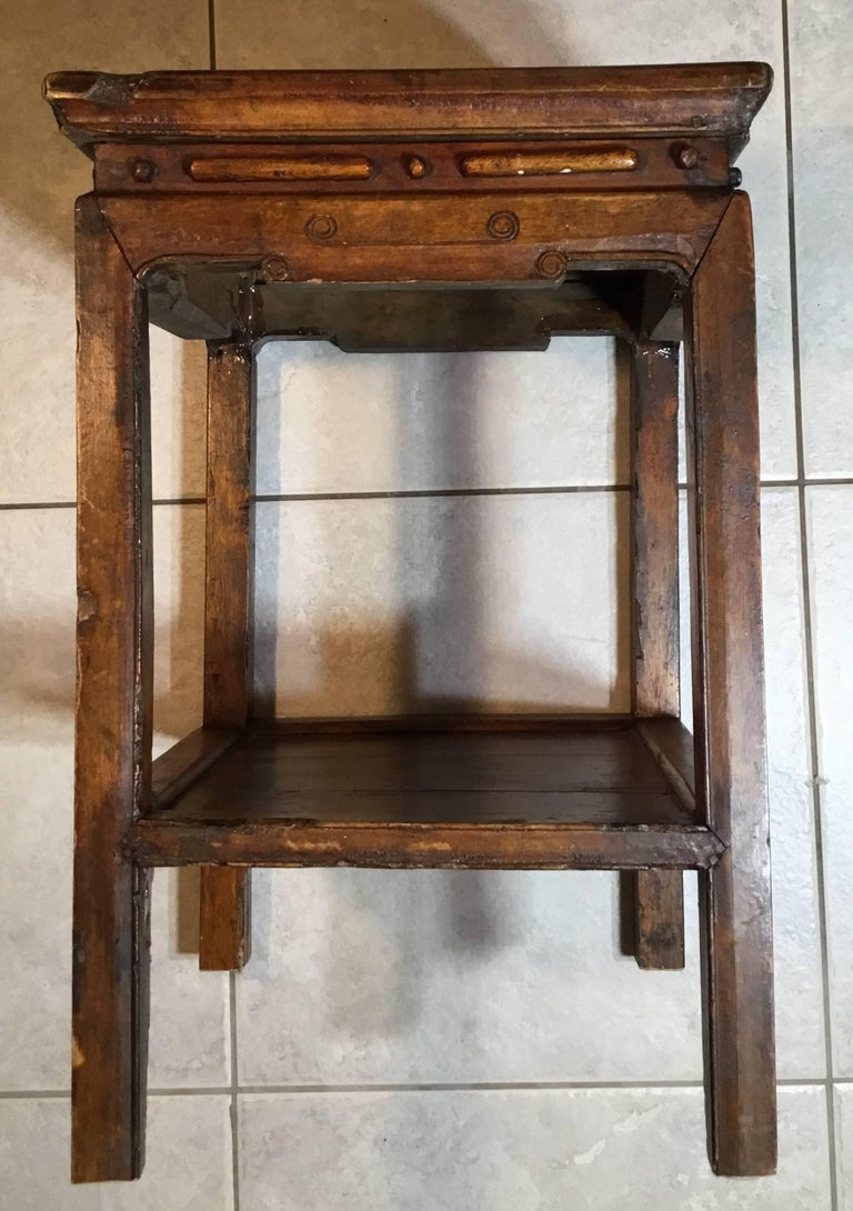 Antique chinese wood side table or end for sale at