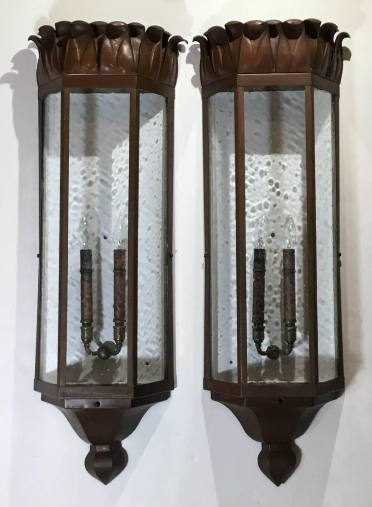 American Large Pair of Art Deco Sconces