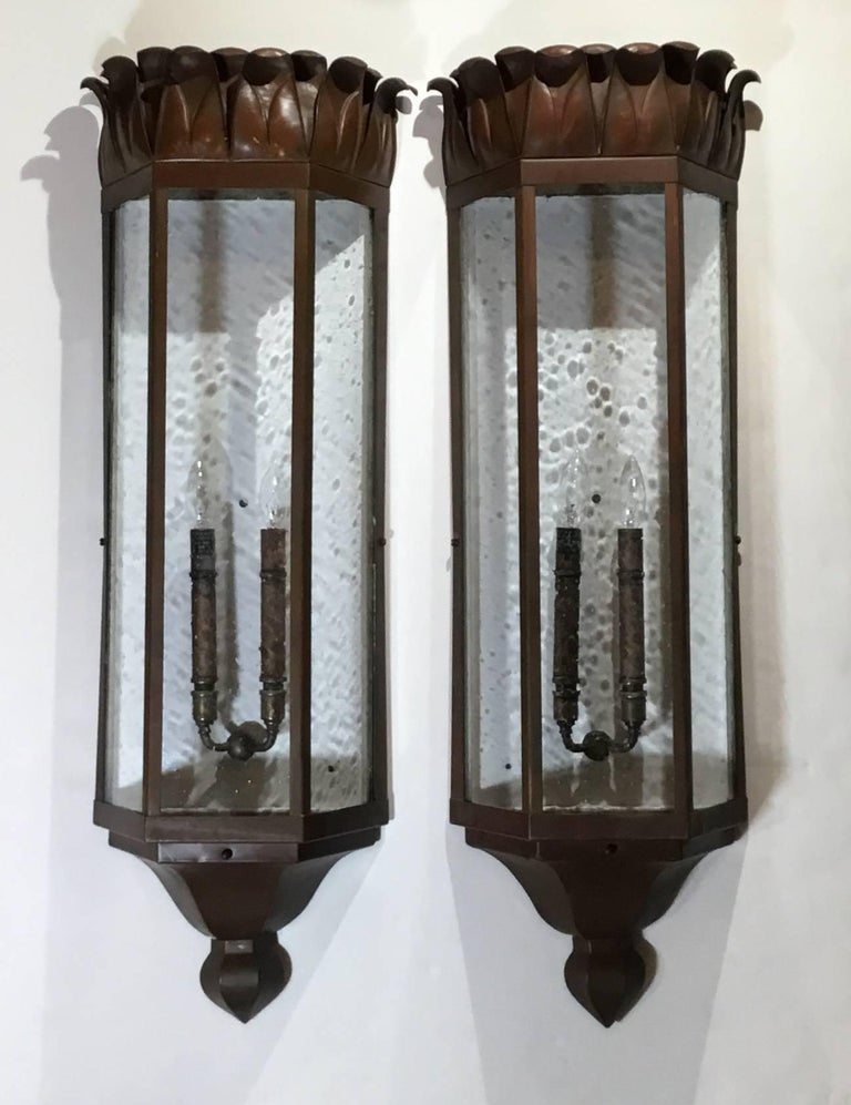 Brass Large Pair of Art Deco Sconces
