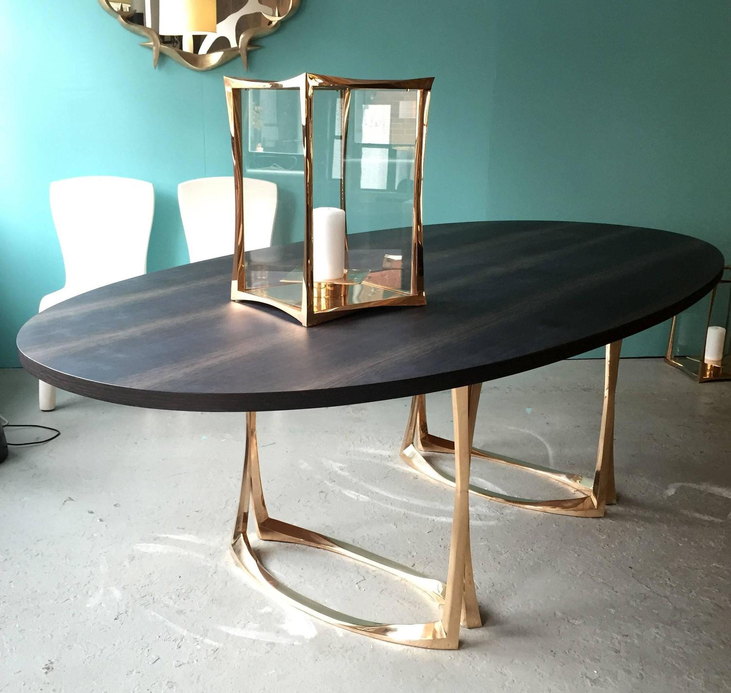 Dining Table with Bronze Legs and Marsh Oak Top by  : AMTablez from www.1stdibs.com size 1500 x 1423 jpeg 179kB