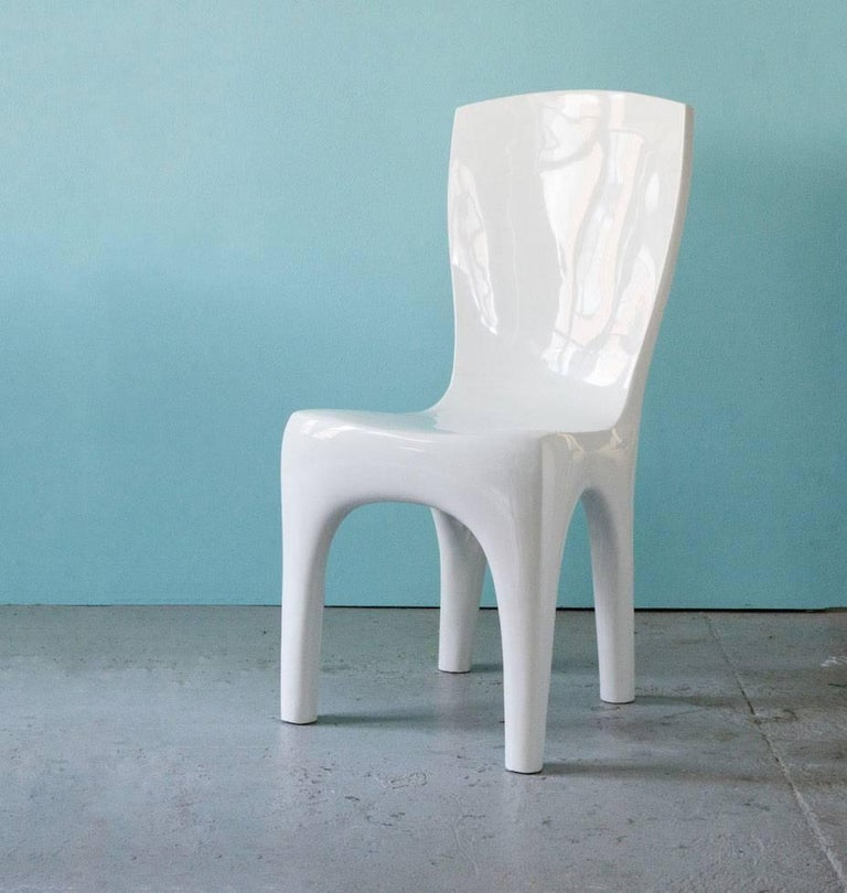 French Dining Chairs in Lacquer by Jacques Jarrige For Sale