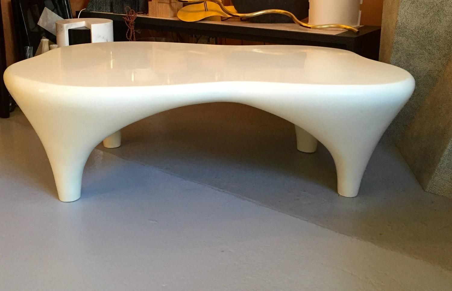 Coffee Table Sculpted By Jacques Jarrige Toro In White Lacquer For Sale At 1stdibs