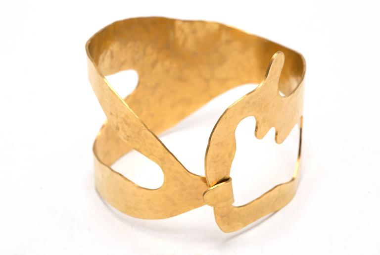 """From Jacques Jarrige's first jewelry collection: """"Rhea"""" bracelet gold-plated and hand-hammered. S, M and L sizes available."""