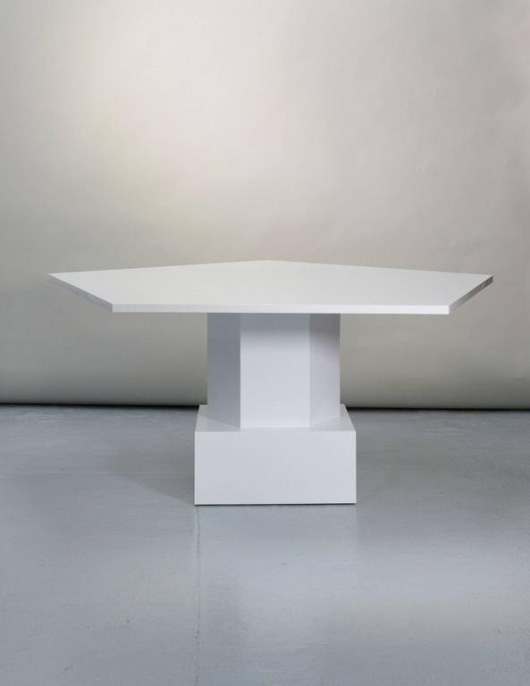 dining table in white lacquer by tinatin kilaberidze for