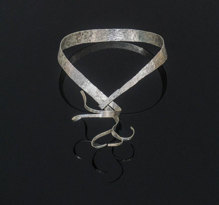 """Necklace in Silver Hand-Hammered by Jacques Jarrige """"Flora"""" 2"""