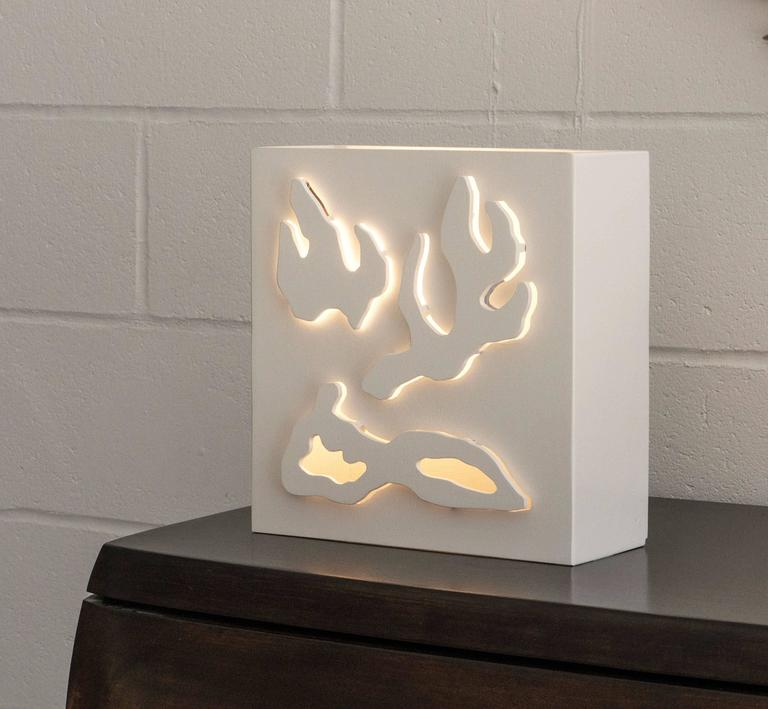 Contemporary Wall or Table Light in Hand Cut Wood by Jacques Jarrige For Sale