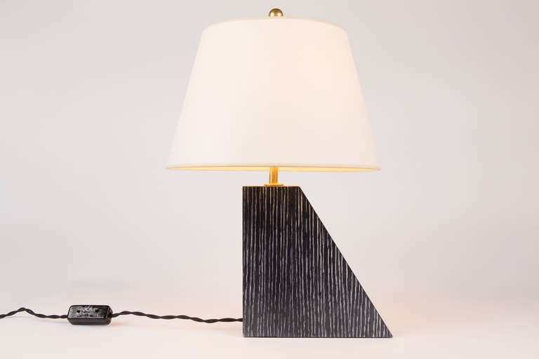 Ebonized oak lamps by Kimille Taylor. 