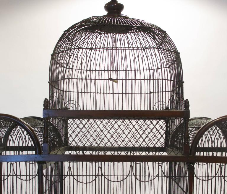 Galvanized Fine and Rare English George III Birdcage on Stand, circa 1780 For Sale