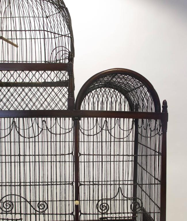 Metal Fine and Rare English George III Birdcage on Stand, circa 1780 For Sale