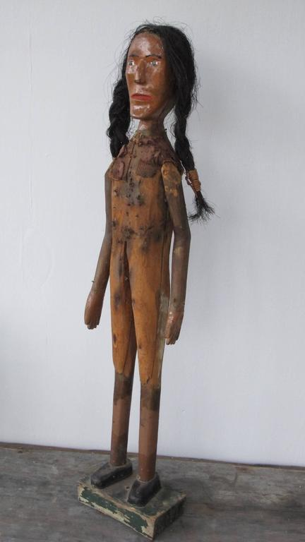 Folk Art Indian of Carved Wood with Braided Hair 2