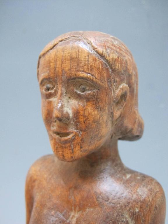 Carved Wood Nude Woman Match Holder at 1stdibs
