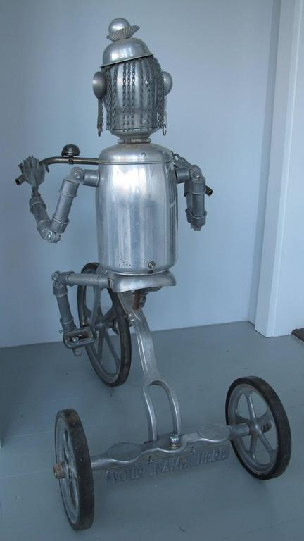 Late 20th Century Robot Riding an Aluminum Tricycle For Sale