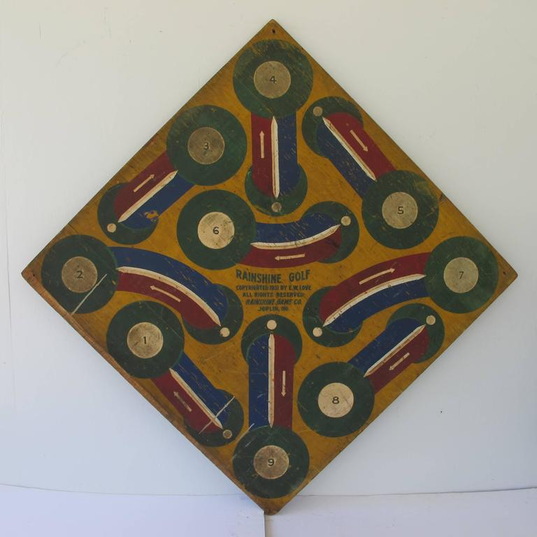 Painted Baseball Darts Game Board with Golf on Reverse For Sale