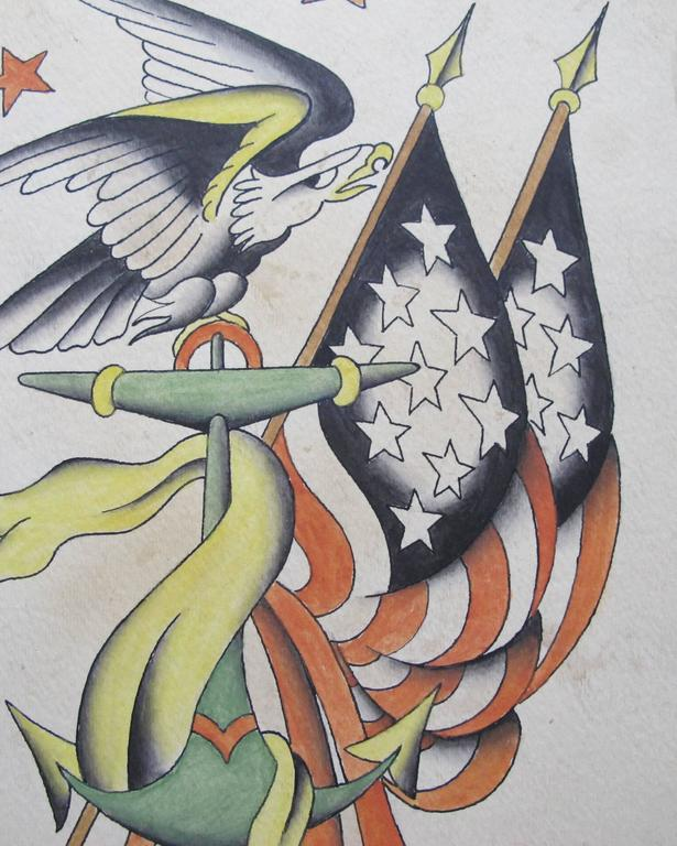 Flags And Eagle Patriotic Tattoo Flash For Sale At 1stdibs