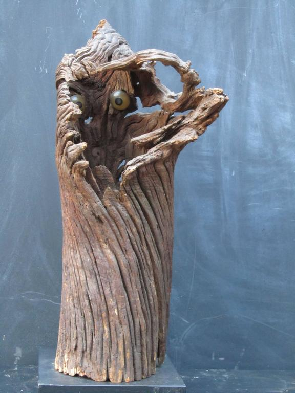 American Outsider Artist Jesse Aarron Sculpture of Spirit in the Tree For Sale