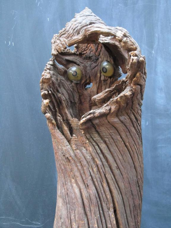 Late 20th Century Outsider Artist Jesse Aarron Sculpture of Spirit in the Tree For Sale