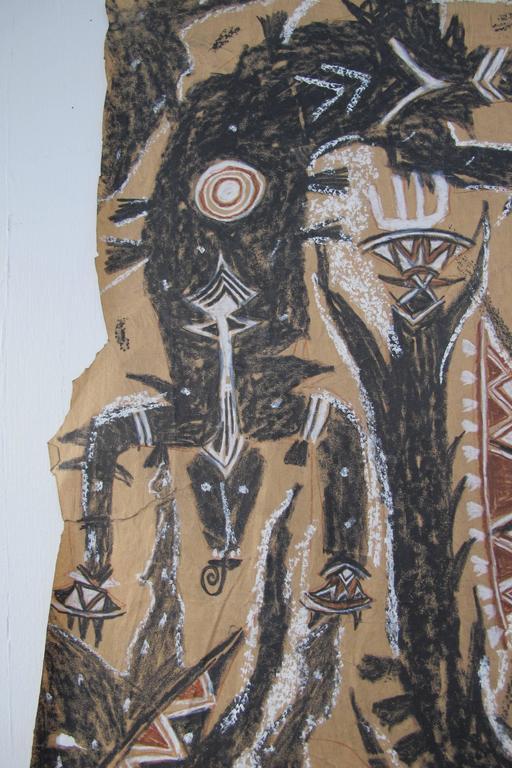Francois Burland Large Art Brut Drawing