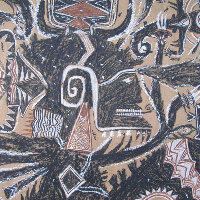 Francois Burland is one of the recognized Art Brut artists in Europe. This large drawing is worked on brown wrapping paper pieced together with a rough irregular edge. The subject is visionary with figural and animal elements.