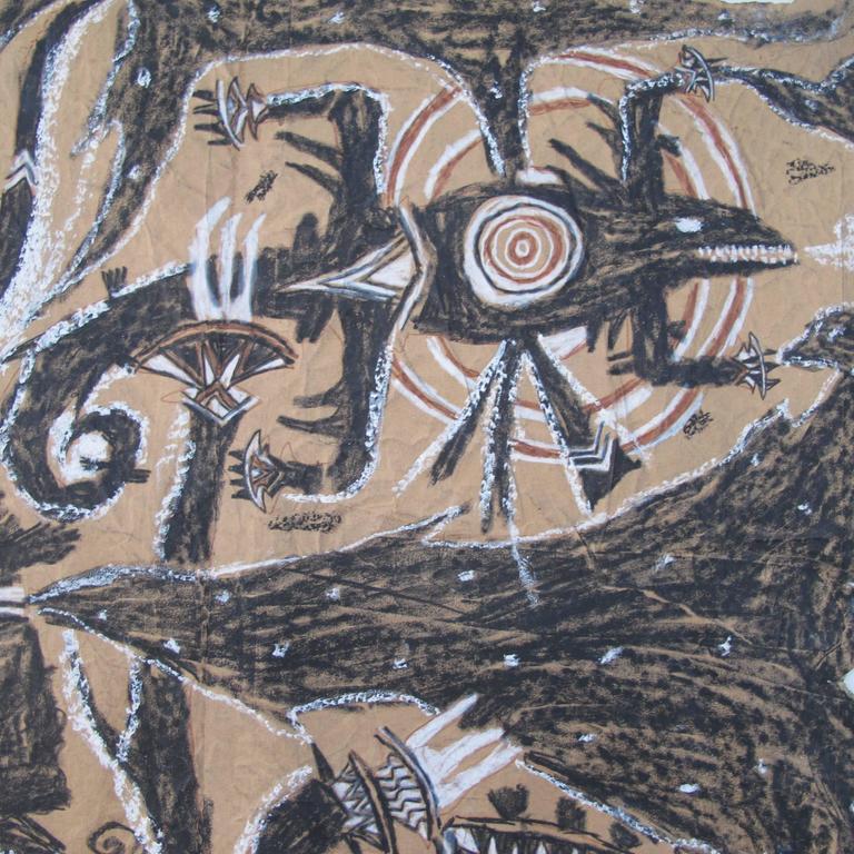 Swiss Francois Burland Large Art Brut Drawing