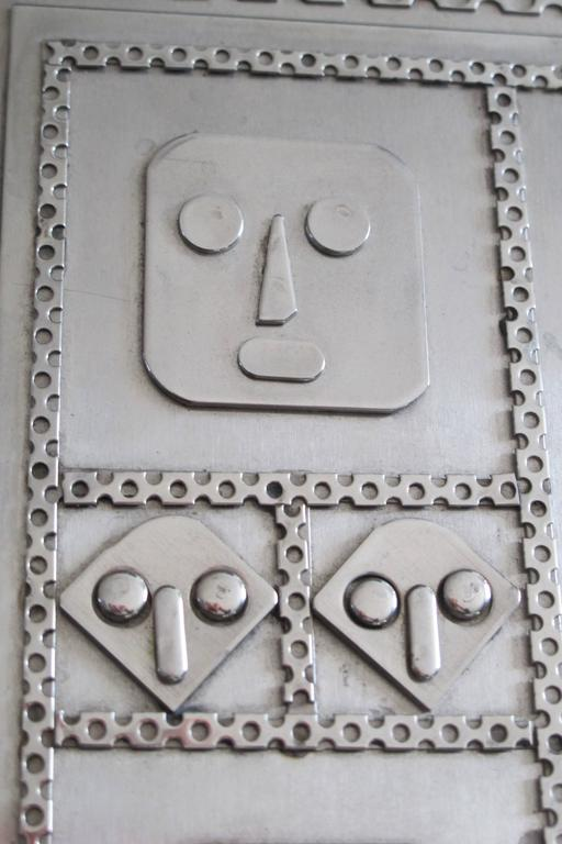 Late 20th Century Jewelry Box with Mask Faces of Stainless Steel by Stanley Szwarc For Sale